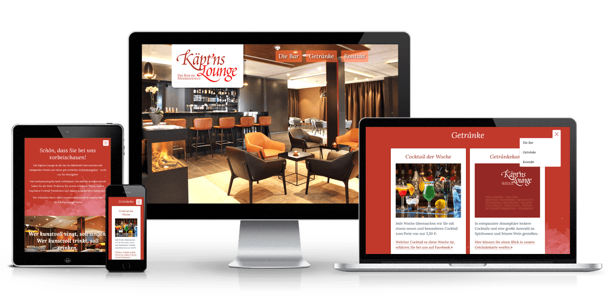 Responsive One Page Website Käpt'ns Lounge