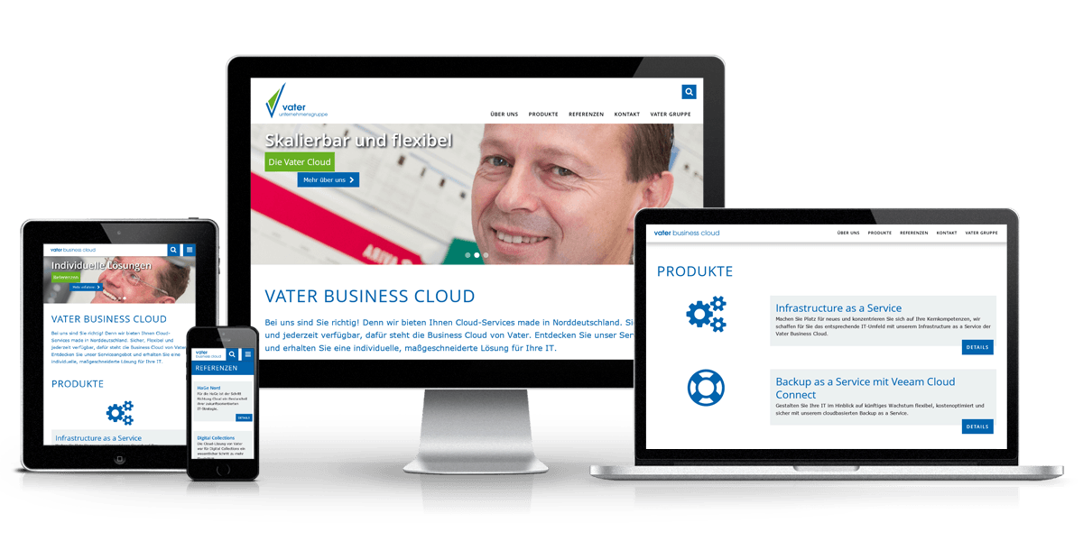 Responsive Website Vater Cloud